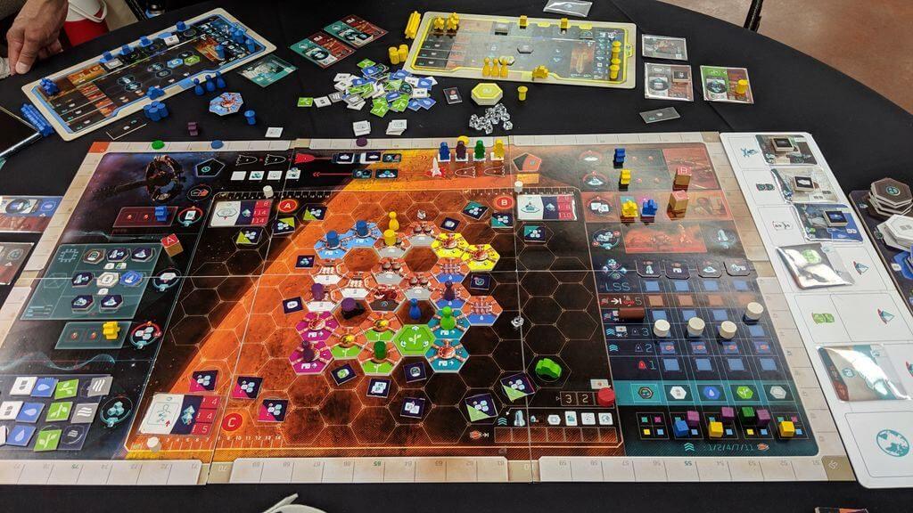 Jeu On Mars de Lacerda par Eagle-Gryphon Games - fin de partie à 2