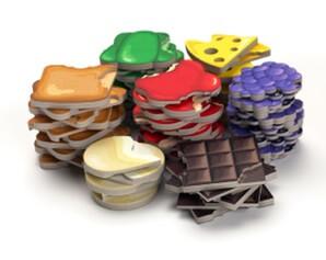 Jeu Bites par BoardGameTables - Jetons nourriture en piles