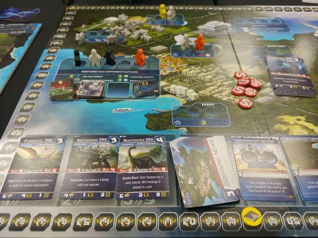 Jeu Dinogenics - Kickstarter par Ninth Haven Games -  plateau commun